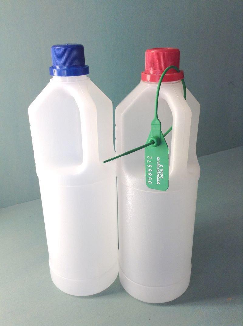 """Пластиковая с узким (19 мм) горлом бутылка 1 л """"ЧИБИС"""" для взятия проб в комплекте с пломбой"""